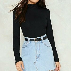 Nasty Gal Sweaters - Women's Black On A Roll Turtleneck Top NEW